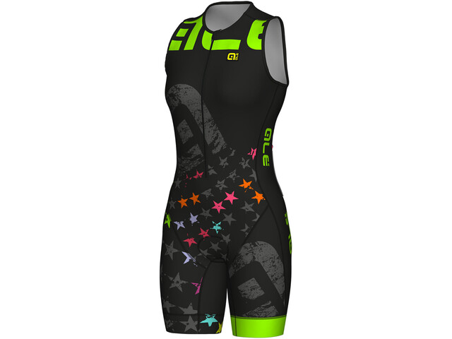 Alé Cycling Long Triathlon Stelle SS Skinsuit Damer, black-fluo green